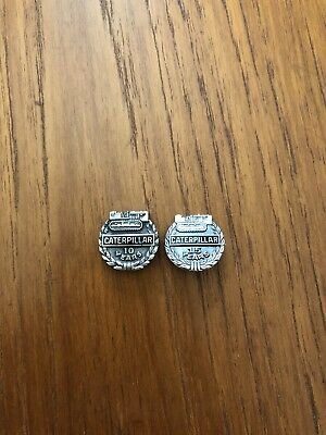 Vintage Lot of 2 Caterpillar Tractor Service Pins Sterling Silver 10 & 15 Year