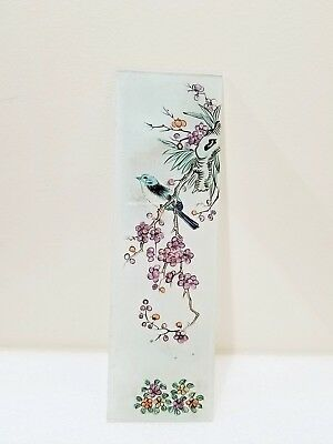 Antique Vintage Japanese ? Reverse Painting On Glass Asian Art 3.25'' X11.25''