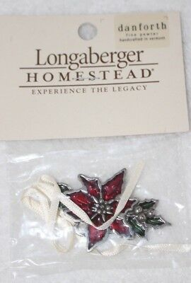 Longaberger Homestead Pewter Tie-On Pointsettia Ornament - Brand NEW in Package