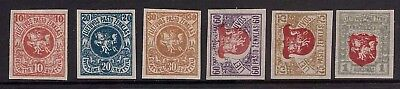 Lithuania 1919 6 stamps from Berlin fourth issue Mi. No. 50-60 Imperforated