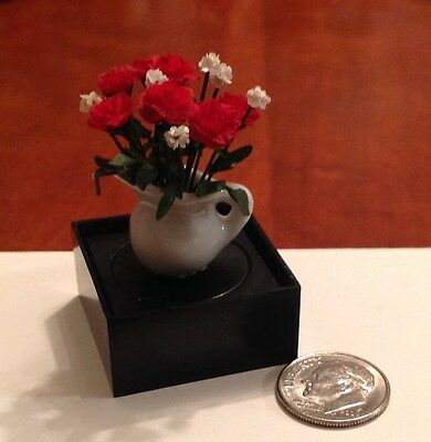 Dollhouse Miniature Red Flowers in White Pitcher