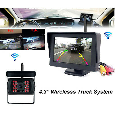 """4.3"""" Monitor+Wireless Rear View Backup Camera Night Vision For RV Truck Bus Car"""