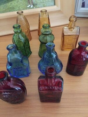 Wheaton Glass Bottle (Miniature) Collection Assorted Colors Vintage 1970's