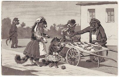 Devers Golden West Trade Card - Dressed Monkey Sells Dead Mice to Lady Cats