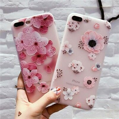 For iPhone XS Max XR 8 7 6s Plus Ultra Thin Soft Silicone Flower Case Cover Lady