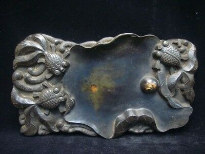 Rare Fine Old Chinese Hand Carving Lotus Gold Fishes Ink Stone Ink Slab Marks