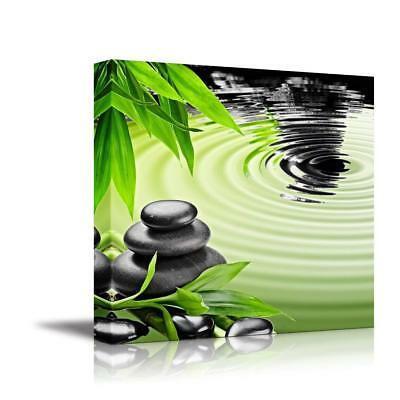 "Zen Basalt Stones and Bamboo - Canvas Art Wall Home Decor - 24"" x 24"""