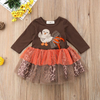 Newborn Baby Girls Thanksgiving Outfit Dress Toddler Long Sleeve Chick Clothes