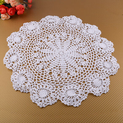 Floral Hand Crochet Cotton Lace Doily Round Flower Table Placemat Cup Holder