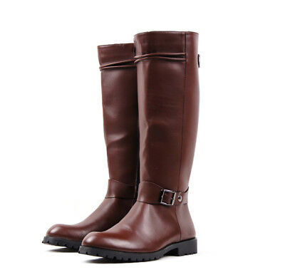 Mens Buckle Vintage Retro Brogue Leather Long Zip Knee High Riding Boots Shoes