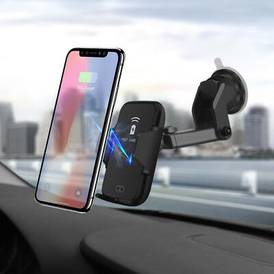 Qi Wireless Charger Automatic Car Bracket Phone Mount Holder For iPhone X XS XR
