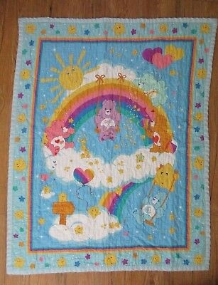 Vintage Care Bears Rainbow Trail Quilt Blanket 42x33 stars baby blue yellow pink