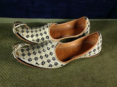 Handmade Leather Costume Genie Brocade Curled Up Toes Flat Shoes US Mens 10.5-11