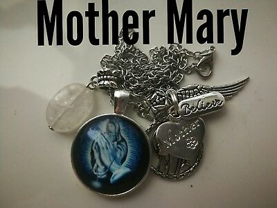 Code 388 Mother Mary quartz infused Necklace Confirmation Communion Cabochon