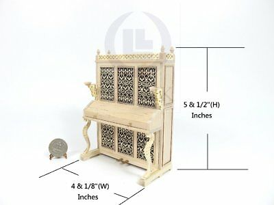 Miniature 1:12 Scale Victorian Upright Piano For Doll House [Unfinished]