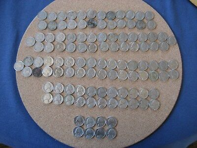 Lot of 113 Jefferson Nickels from 1940 thru the 50s, 60s, and 70s. W/album