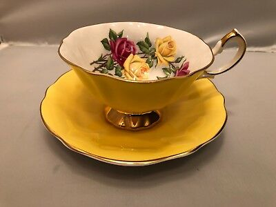 Queen Anne Cup And Saucer - Yellow - Rose Bouquet - 306