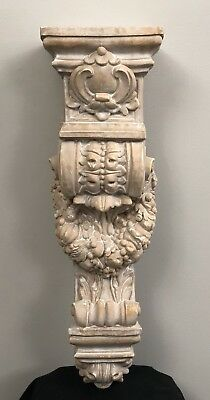 Large Rice House Wall Bracket Architectural Accent Home Decor - Brown Whitewash