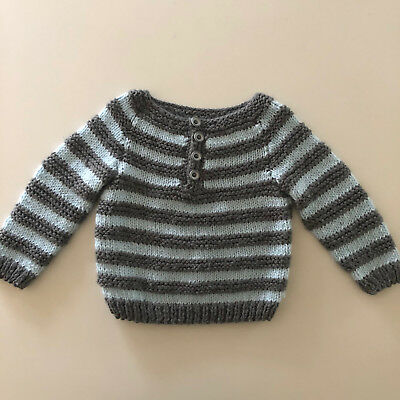 Vintage Baby Boys Hand Knit Sweater Kids Size 18 Months 2T