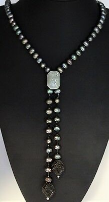 Strand Baroque Pearls & Jade Necklace Italy stamped 9ct 375 gold clasp