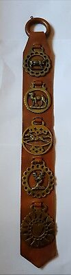 Horse Brass Medallions On Leather Display Strap