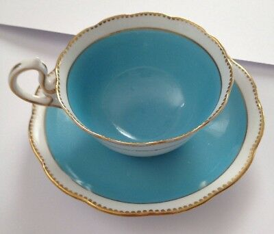 Royal Albert Tea Cup & Saucer Turquoise Gold Gilded Bone China