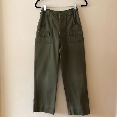 "Vintage Army Green High Waisted Boy Scout Cargo Pants  Size 24"" - 26"" Waist"