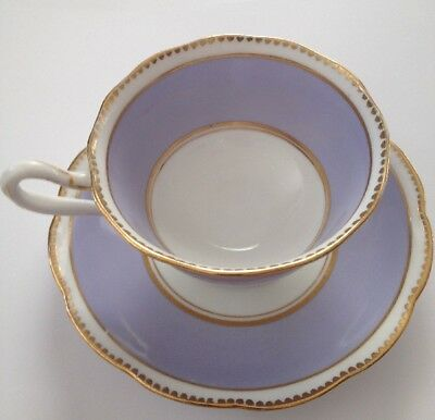 Royal Albert Tea Cup & Saucer Lavender L Purple Gold Gilded Bone China
