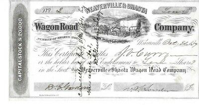 Toll Road Stock Weaverville & Shasta Wagon Road Co. California 1859
