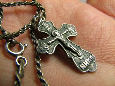 CRUCIFIXION SAVE & PROTECT PRAYER OLD VINTAGE STERLING SILVER CROSS w CHAIN #425