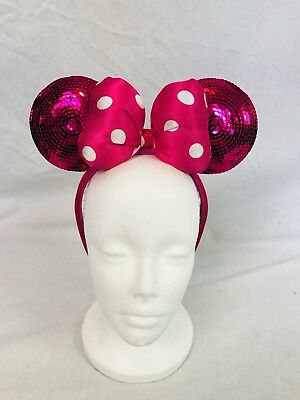 Minnie Mouse Ears Headband Disney Parks Pink Polka Dot Bow SEQUIN Mouse