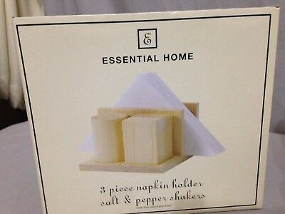 Essential Home 3 Piece Wooden Napkin Holder & Salt/Pepper Shakers New in Box