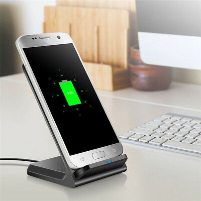 Qi Fast Wireless Charger Charging Pad Stand Dock Samsung Galaxy S9 iPhone X 8