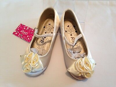 Girls Ivory Satin Sparkle Bow Party Wedding Bridesmaid Flower Girl Pumps Shoes