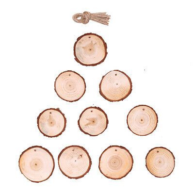 Wooden Round Bauble Hanging Christmas Tree Blank Decorations Gift Tag d2s