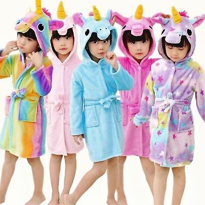 Girls Boys Bathrobe Kids 3D Animal Unicorn Dressing Gown Fleece Night Loungewear