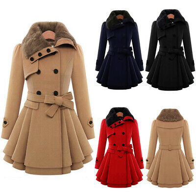 WOMENS Ladies Fur Collared Winter Long Peacoat Coat Trench Outwear Jacket 8-20