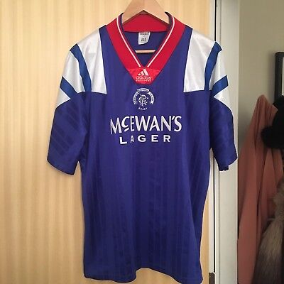 Vintage Glasgow Rangers 1992 Home Shirt Adidas Eqt Size 42/42 - Great Condition