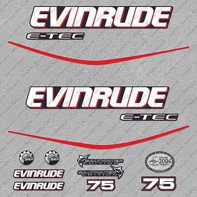 Evinrude 75 hp ETEC outboard engine decals sticker set reproduction Blue Cowl