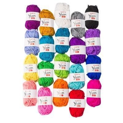 100% Acrylic Yarn 20 Assorted Colors Skeins Bonbons Yarn for Crochet & Knitting