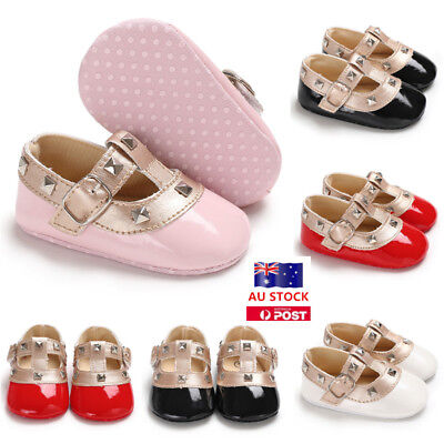 Infant Newborn Baby Girl Soft Sole PU Leather Crib Shoes Toddler Prewalker 0-18M