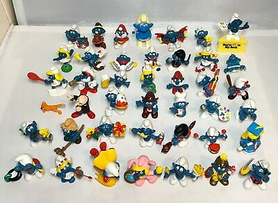 Vintage Lot of 42 Smurfs 1969-1986 Schleich Peyo, Wallace Bernie & Co