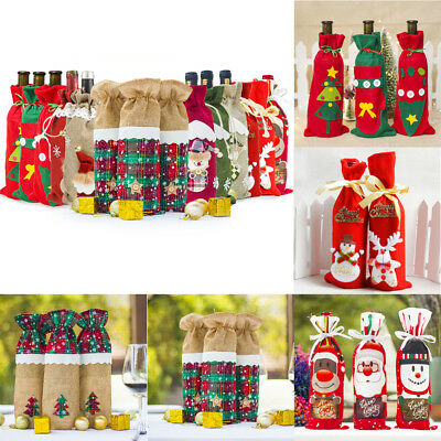 Xmas Wine Bottle Cover Santa Claus Deer Bottle Decor Christmas New Year Gift Bag