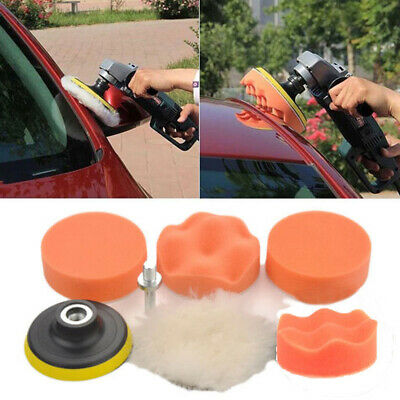 New 7Pcs 3'' Buffing Pad Auto Car Polishing Wheel Kit Buffer + M14 Drill Adapter