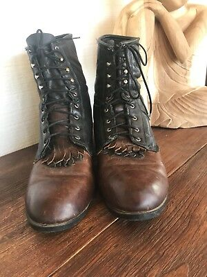 Mens Leather Two Tone Packer Western Lace-up Boots J Chisholm 13D