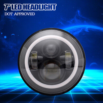 POWERYED 1Pc 7 Inch Round LED Daymaker Projector Headlight for Motor Harley
