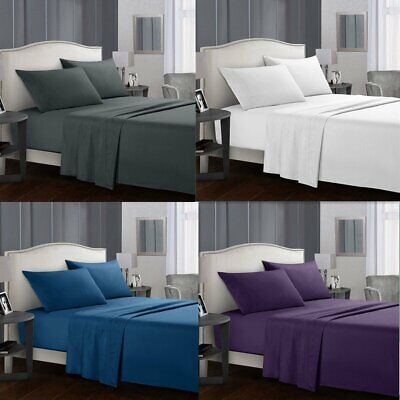 4PCS 1000TC Ultra Soft Flat Fitted Bed Sheets Set Single/Double/Queen/King