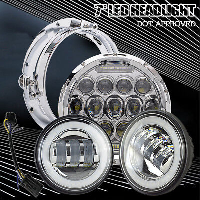 POWERYED 7 Inch LED Headlight & Passing Lights For Harley Road King FLHP