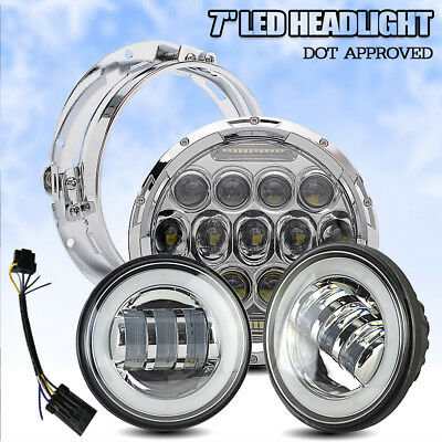 """POWERYED LED Projector Daymaker Headlight Passing Lights For Harley 7"""""""