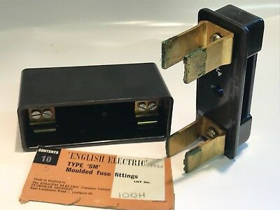ENGLISH ELECTRIC SM-100 BOARD MOUNT VINTAGE FUSE CARRIER 100A 500Vac       ad1r3